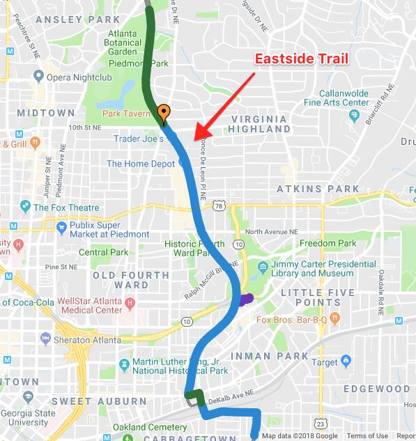 Atlanta Eastside Trail Map